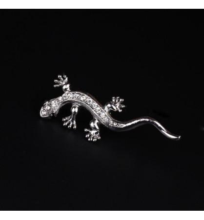 Broche gecko cristal